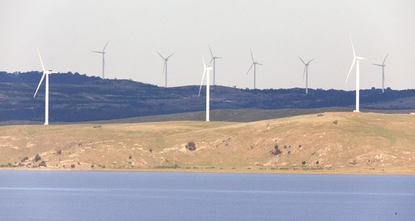 Wind turbines by Lake George NSW